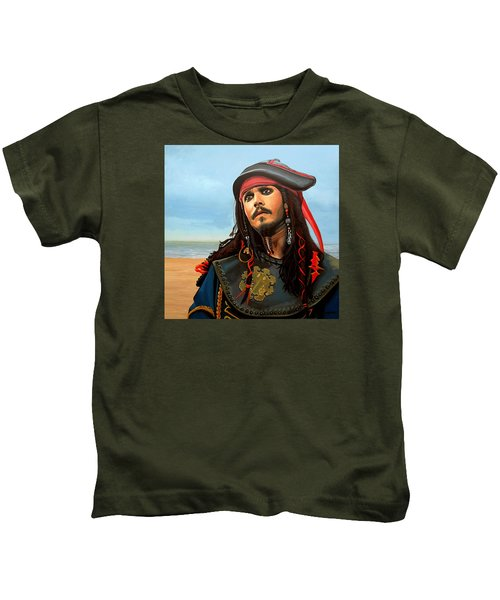 Johnny Depp As Jack Sparrow Kids T-Shirt by Paul Meijering