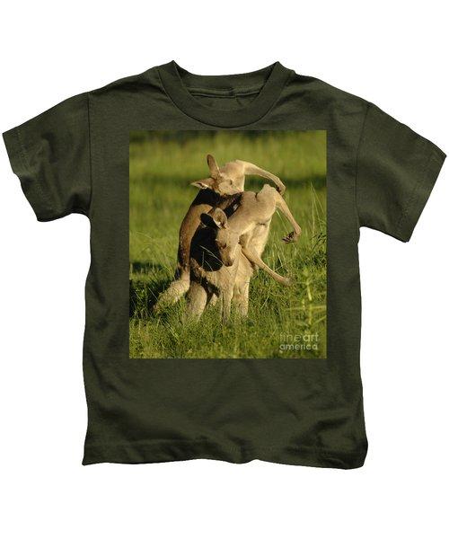 Kangaroos Taking A Bow Kids T-Shirt by Bob Christopher