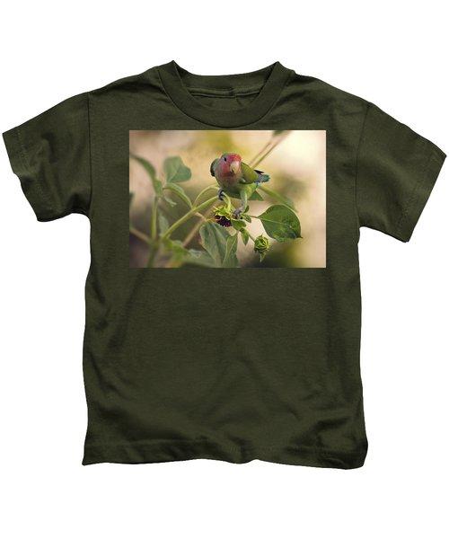 Lovebird On  Sunflower Branch  Kids T-Shirt by Saija  Lehtonen