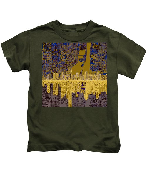 Miami Skyline Abstract 3 Kids T-Shirt by Bekim Art