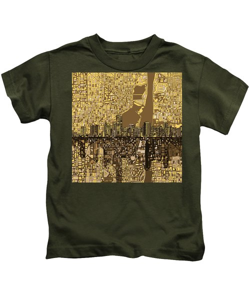 Miami Skyline Abstract 6 Kids T-Shirt by Bekim Art