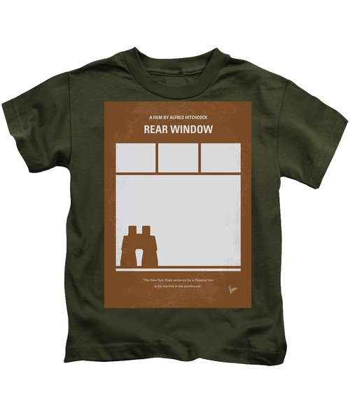No238 My Rear Window Minimal Movie Poster Kids T-Shirt by Chungkong Art