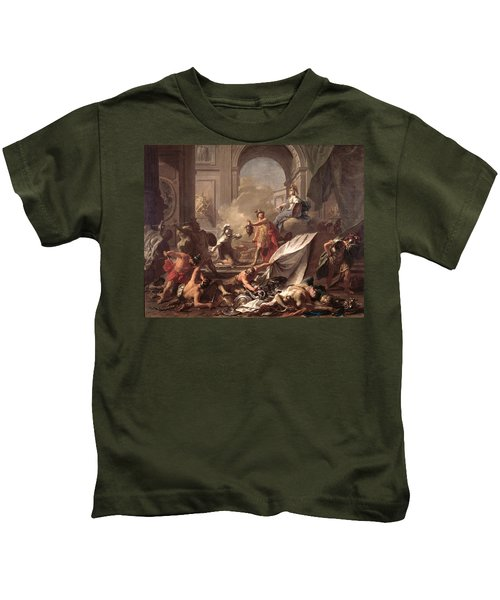 Perseus, Under The Protection Of Minerva, Turns Phineus To Stone By Brandishing The Head Of Medusa Kids T-Shirt by Jean-Marc Nattier