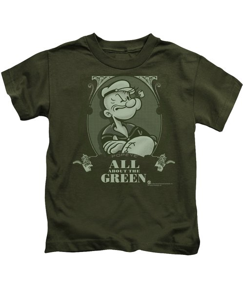 Popeye - All About The Green Kids T-Shirt by Brand A