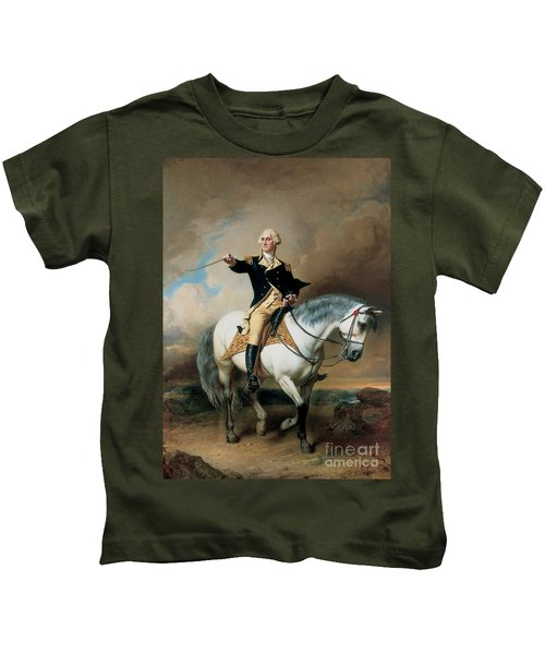 Portrait Of George Washington Taking The Salute At Trenton Kids T-Shirt by John Faed