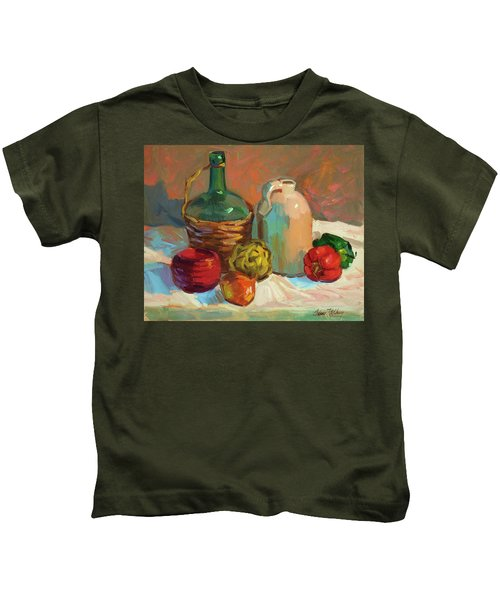 Pottery And Vegetables Kids T-Shirt by Diane McClary