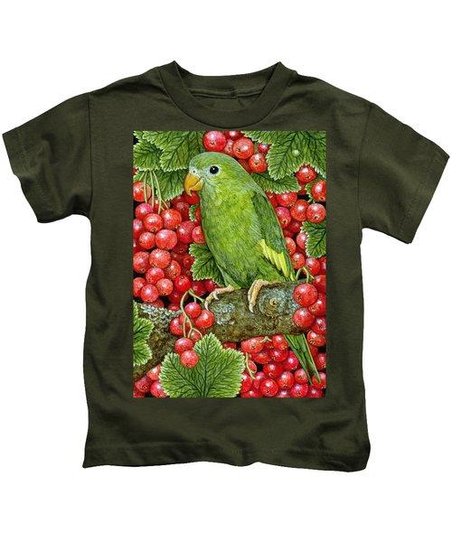 Redcurrant Parakeet Kids T-Shirt by Ditz