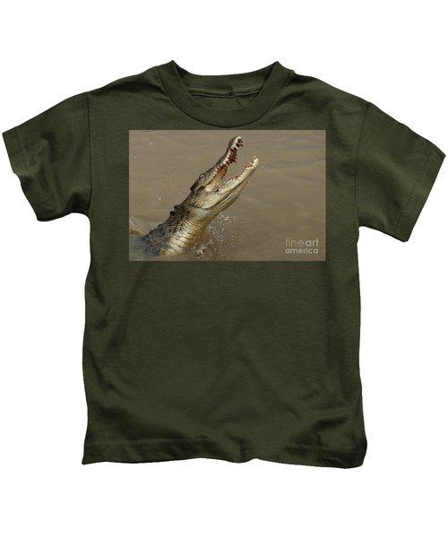 Salt Water Crocodile Australia Kids T-Shirt by Bob Christopher