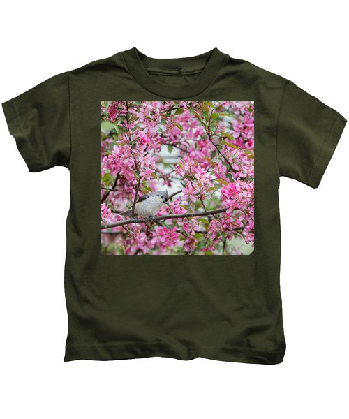 Tufted Titmouse In A Pear Tree Square Kids T-Shirt by Bill Wakeley