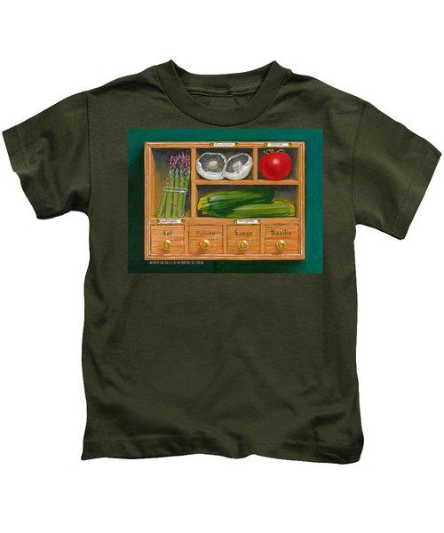 Vegetable Shelf Kids T-Shirt by Brian James
