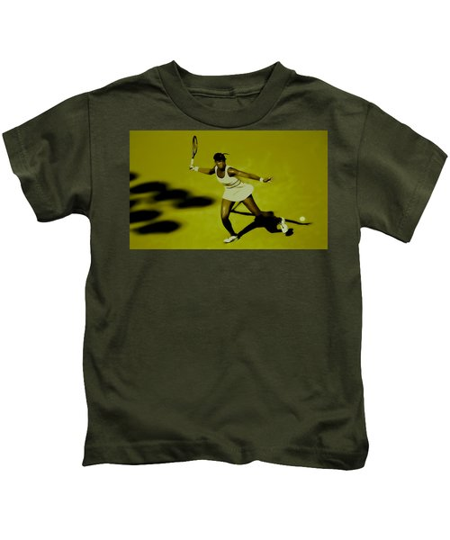 Venus Williams In Action Kids T-Shirt by Brian Reaves