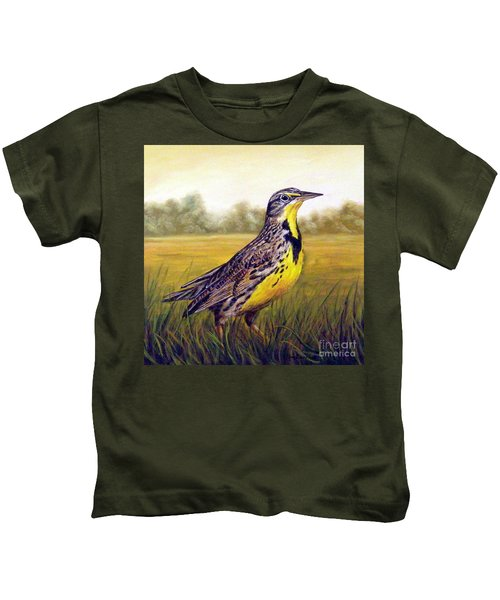 Western Meadowlark Afternoon Kids T-Shirt by Tom Chapman