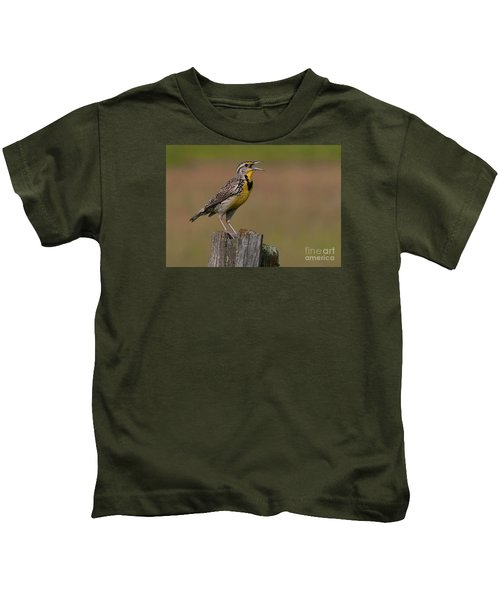 Western Meadowlark.. Kids T-Shirt by Nina Stavlund