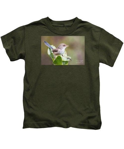White Winged Fairy Wren Kids T-Shirt by Kym Clarke