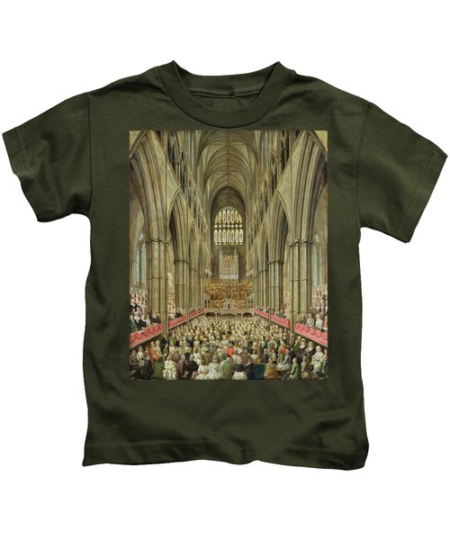 An Interior View Of Westminster Abbey On The Commemoration Of Handel's Centenary Kids T-Shirt by Edward Edwards