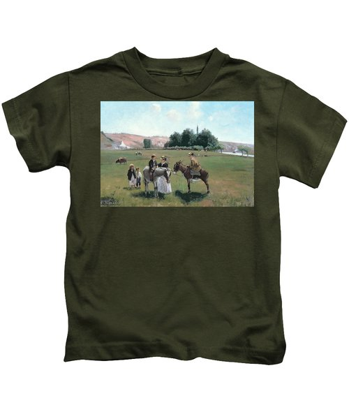 Donkey Ride Kids T-Shirt by Camille Pissarro