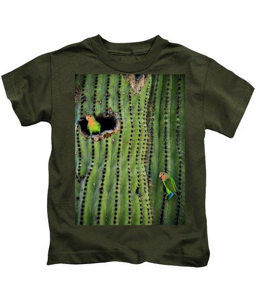 Lovebirds And The Saguaro  Kids T-Shirt by Saija  Lehtonen