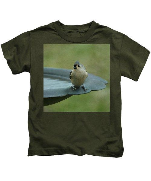 Tufted Titmouse Kids T-Shirt by Sandy Keeton