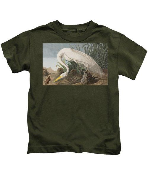 Great Egret Kids T-Shirt by John James Audubon