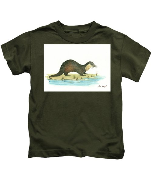 Otter Kids T-Shirt by Juan Bosco