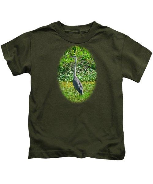 Great Blue Heron Kids T-Shirt by Deborah Good