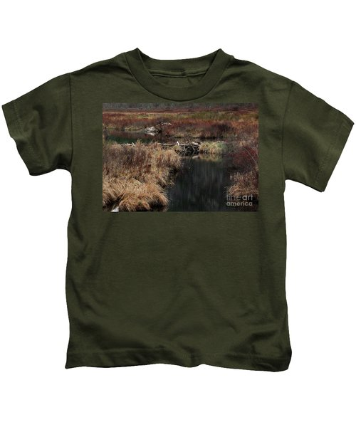 A Beaver's Work Kids T-Shirt by Skip Willits