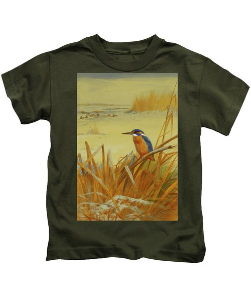 A Kingfisher Amongst Reeds In Winter Kids T-Shirt by Archibald Thorburn