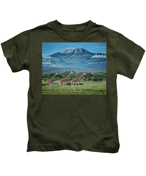 African Giants At Mount Kilimanjaro, Original Oil Painting 48x60 In On Gallery Canvas Kids T-Shirt by Manuel Lopez
