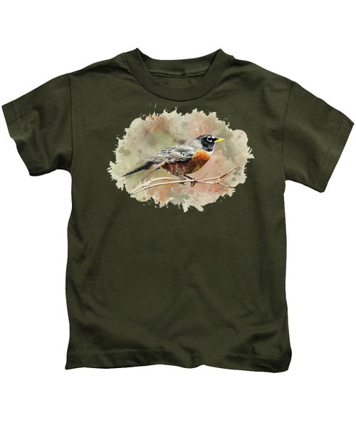 American Robin - Watercolor Art Kids T-Shirt by Christina Rollo