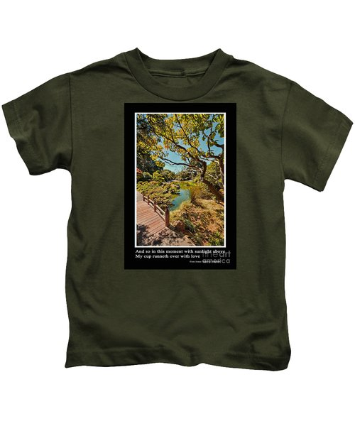 And So In This Moment With Sunlight Above Kids T-Shirt by Jim Fitzpatrick