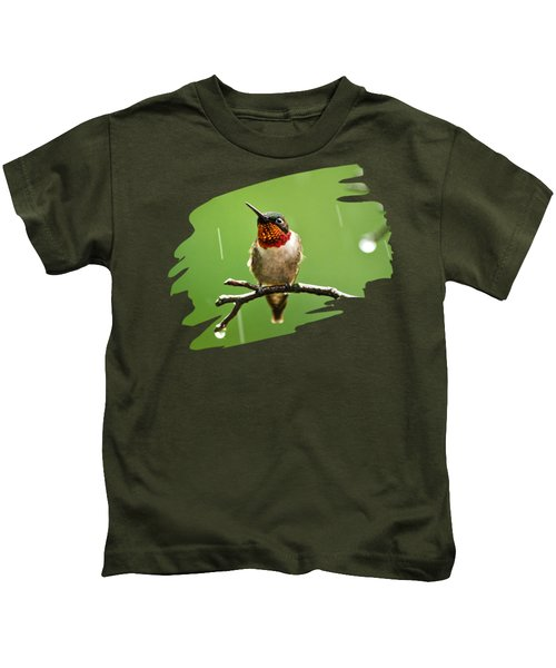 Another Rainy Day Hummingbird Kids T-Shirt by Christina Rollo