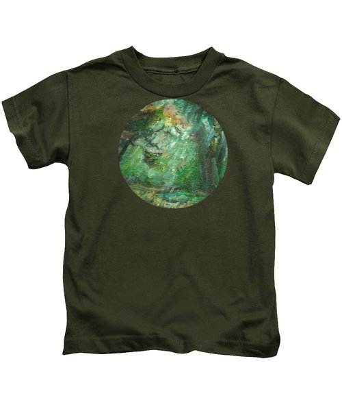 Rainy Woods Kids T-Shirt by Mary Wolf