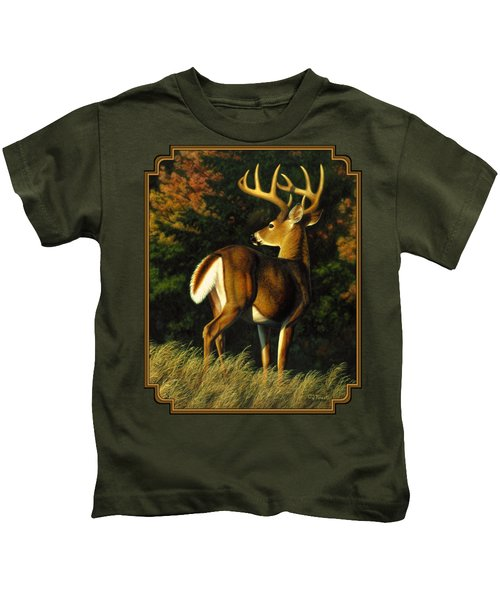 Whitetail Buck - Indecision Kids T-Shirt by Crista Forest