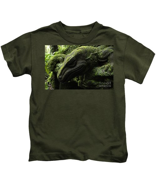 Bali Indonesia Lizard Sculpture Kids T-Shirt by Bob Christopher