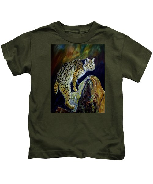 Bobcat At Sunset Original Oil Painting 16x20x1 Inch On Gallery Canvas Kids T-Shirt by Manuel Lopez