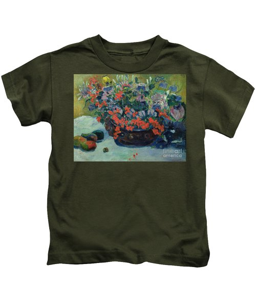 Bouquet Of Flowers Kids T-Shirt by Paul Gauguin