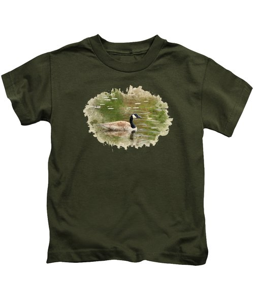 Canada Goose Watercolor Art Kids T-Shirt by Christina Rollo