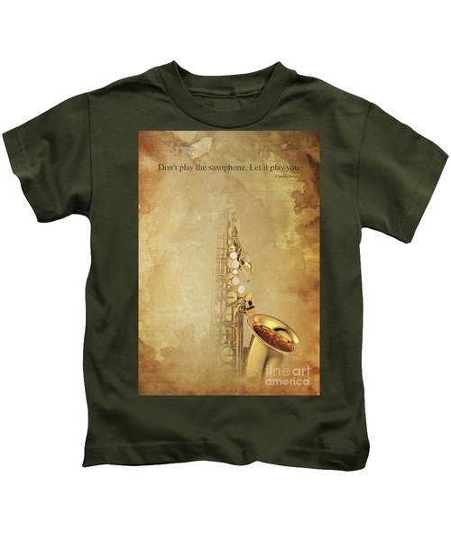 Charlie Parker Saxophone Brown Vintage Poster And Quote, Gift For Musicians Kids T-Shirt by Pablo Franchi