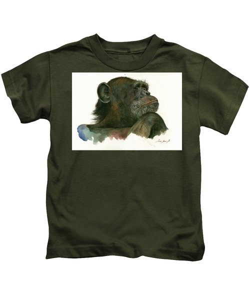 Chimp Portrait Kids T-Shirt by Juan Bosco