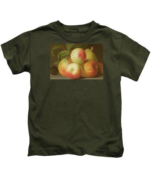 Detail Of Apples On A Shelf Kids T-Shirt by Jakob Bogdany