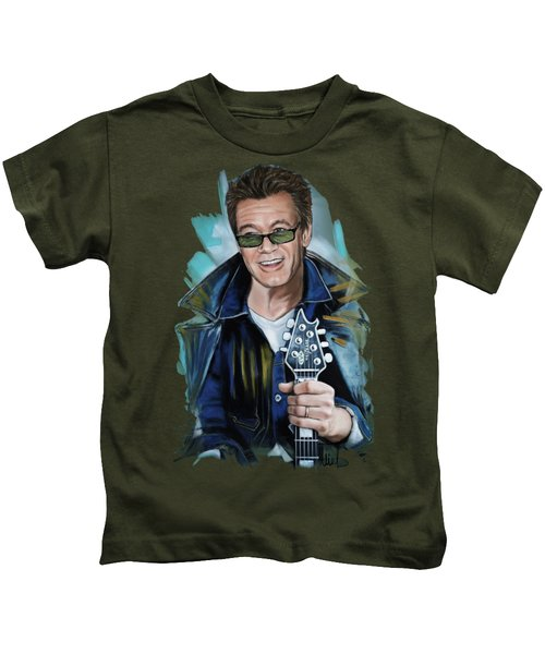 Eddie Van Halen Kids T-Shirt by Melanie D