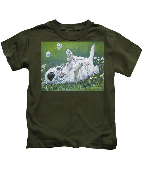 English Setter Puppy And Butterflies Kids T-Shirt by Lee Ann Shepard