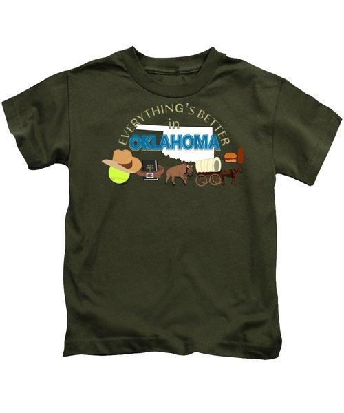 Everything's Better In Oklahoma Kids T-Shirt by Pharris Art
