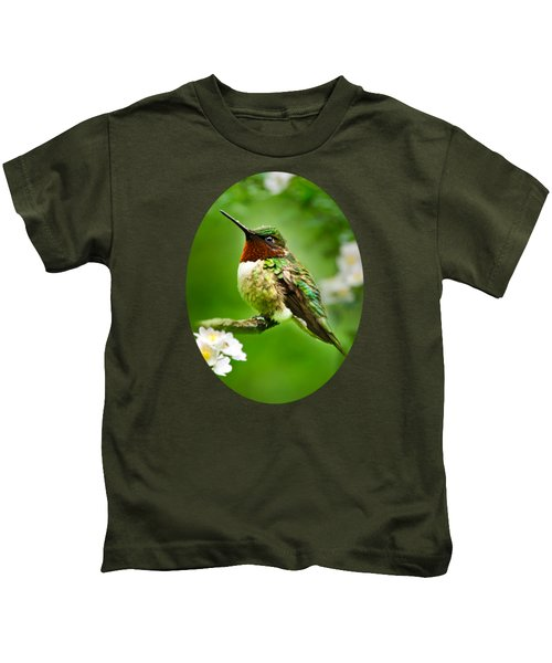 Fauna And Flora - Hummingbird With Flowers Kids T-Shirt by Christina Rollo