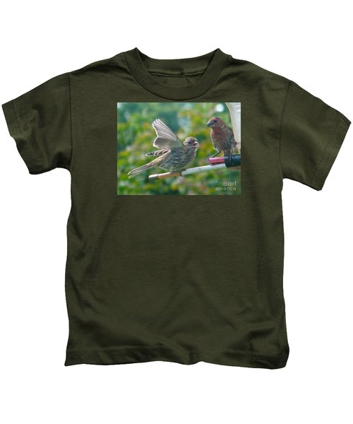 Female And Male Crossbills    August  Indiana Kids T-Shirt by Rory Cubel