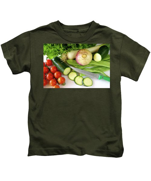 Fresh Vegetables Kids T-Shirt by Carlos Caetano