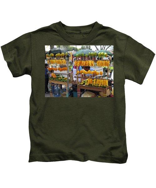 Fruit Stand Antigua  Guatemala Kids T-Shirt by Kurt Van Wagner