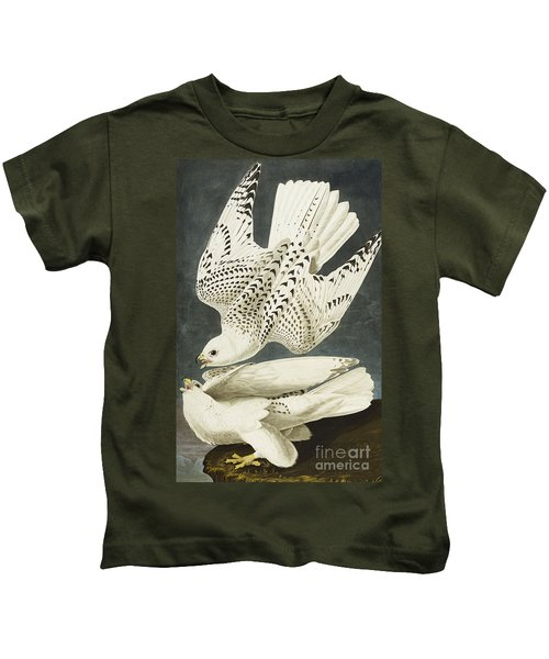 Iceland Or Jer Falcon Kids T-Shirt by John James Audubon