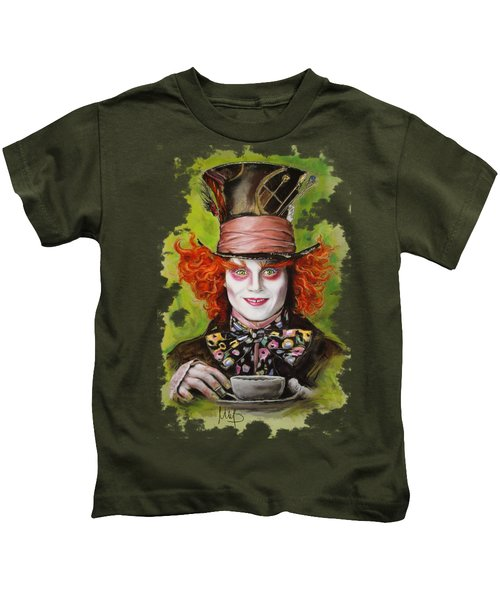 Johnny Depp As Mad Hatter Kids T-Shirt by Melanie D