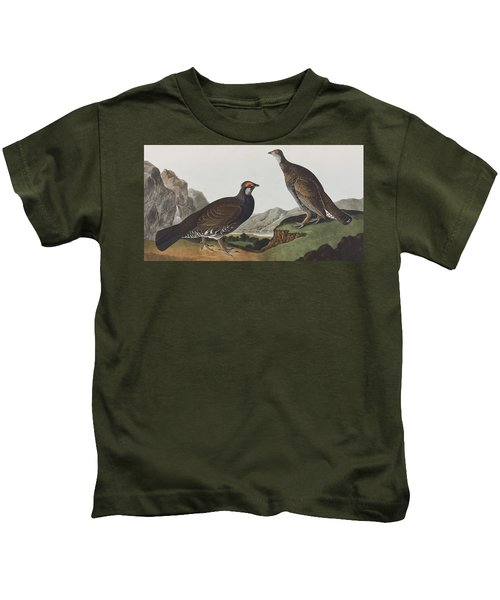 Long-tailed Or Dusky Grous Kids T-Shirt by John James Audubon